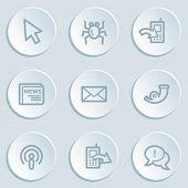 Internet web icon set 2 , white sticker buttons