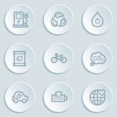 Ecology web icon set 4, white sticker buttons