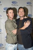APRIL 19-ANAHEIM, CA: Jeremy Sumpter and Bill Paxton arrive at the 2014 Annual Wondercon press room on April 19, 2014 in Anaheim, CA.