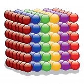 Cube of colorful Spheres vector