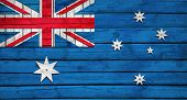 Australian flag painted on wooden boards