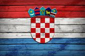 Croatian flag painted on wooden boards