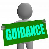 Guidance Sign Character Means Support And Assistance
