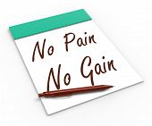 No Pain No Gain Notebook Shows Hard Work Retributions And Motiva