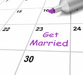 Get Married Calendar Shows Wedding And Spouse