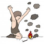 An image of a cave man who discovers fire.