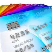 brightly coloured, blue, red, orange, yellow, pink and purple and green 3d renders of credits cards