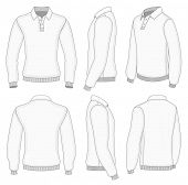 All views men's white long sleeve polo shirt design templates (front, back, half-turned and side vie