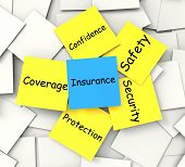 Insurance Post-it Note Shows Financial Security And Coverage