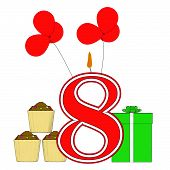 Number Eight Candle Means Eighth Birthday Party Or Celebration