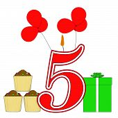Number Five Candle Shows Fourth Birthday Or Birth Anniversary