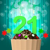 Twenty One Candle On Cupcake Shows Adult Becoming Or Growing Up