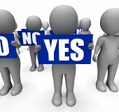 Characters Holding No Yes Signs Show Uncertain Or Confused