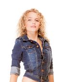 Denim Fashion. Blonde Girl Young Fashionable Woman In Blue Jeans