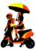 Beauty bikers women whit umbrella and scooter