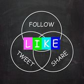 Social Media Communication Is Follow Share Like And Tweet