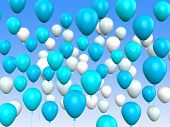 Floating Light Blue And White Balloons Mean Argentinean Flag Or