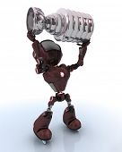 3D Render of a robot ice hockey champion