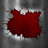 Cracked metallic background with red grunge underlay