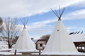 picture of teepee  - An Indian Teepee set up at Highway Rest Area in Colorado - JPG