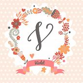 Personalized monogram in vintage colors. Stylish letter V. Can be used as greeting card, invitation card. Floral wreath in vector