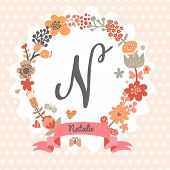 Personalized monogram in vintage colors. Stylish letter N. Can be used as greeting card, invitation