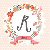 Personalized monogram in vintage colors. Stylish letter R. Can be used as greeting card, invitation