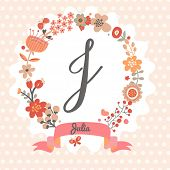 Personalized monogram in vintage colors. Stylish letter J. Can be used as greeting card, invitation