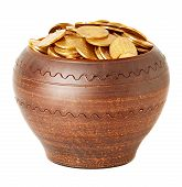 Ceramic Pot Full Of Coins