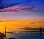 San Francisco Golden Gate Bridge sunrise California USA from Marin headlands
