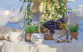 Table decor with fruit.