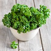 stock photo of vegan  - Fresh green kale in ceramic bowl - JPG