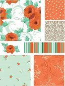 Vector Seamless Rose Patterns and Icons. Use as fills, digital paper, or print off onto fabric to cr