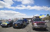 Ukraine supporter cars in Brooklyn