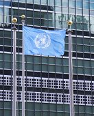 United Nations Flag in the front of UN Headquarter in New York