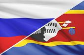 Series Of Ruffled Flags. Russia And Kingdom Of Swaziland.