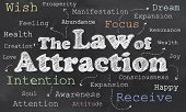 stock photo of laws-of-attraction  - Law of Attraction on Blackboard with Words - JPG