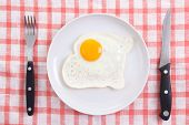 Fried Egg In Plate With Fork And Knife On The Table
