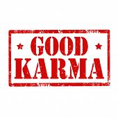 image of karma  - Grunge rubber stamp with text Good Karma - JPG