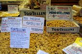 BOLOGNA, ITALY - APRIL 19, 2014: A selection of fresh tortellini pasta on display in Bologna, Italy, on Saturday, April 19, 2014.