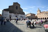 BOLOGNA, ITALY - APRIL 19, 2014: A general view of the basilica in Bologna, Italy, on Saturday, Apri