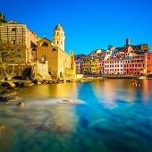 Vernazza Village, Church, Rocks And Sea Harbor On Sunset. Cinque Terre, Ligury, Italy
