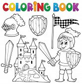 stock photo of knights  - Coloring book knight theme 1  - JPG