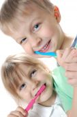 Children Cleaning Teeth