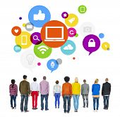 Multiethnic People Facing Backwards with Social Media Symbols