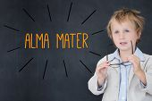 image of mater  - The word alma mater against schoolboy and blackboard - JPG