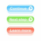 Glassy Continue Buttons. Vector Illustration