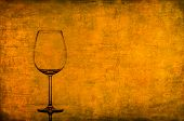 Empty Wine Glass On Nice Vintage Texture