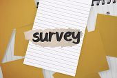 The word survey against yellow paper strewn over notepad