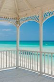 View of Varadero beach in Cuba from a beautiful wooden terrace